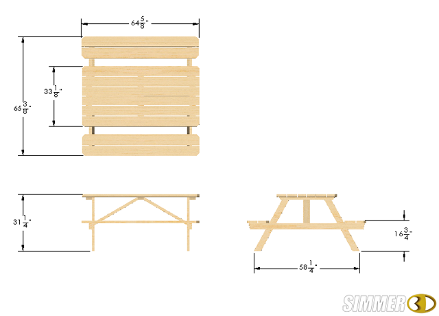 Picnic Table(0) 3D Model Dimensions