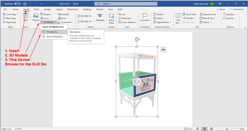 Loading 3D models in Word
